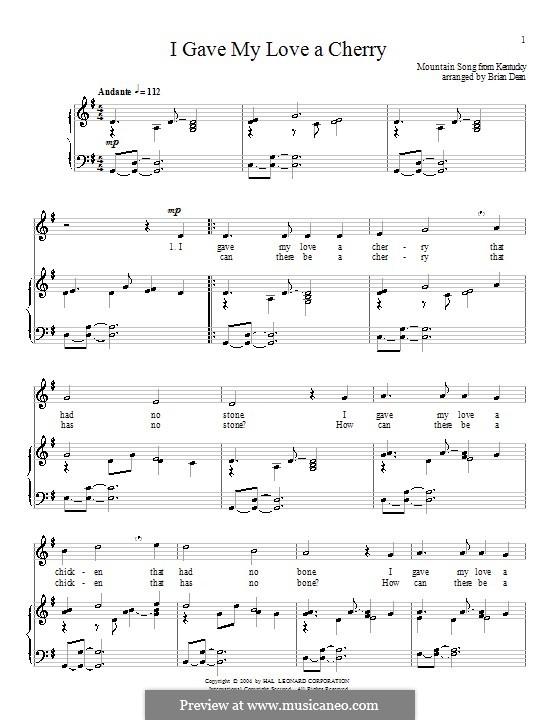 I Gave My Love a Cherry (The Riddle Song): Für Stimme und Klavier (oder Gitarre) by folklore
