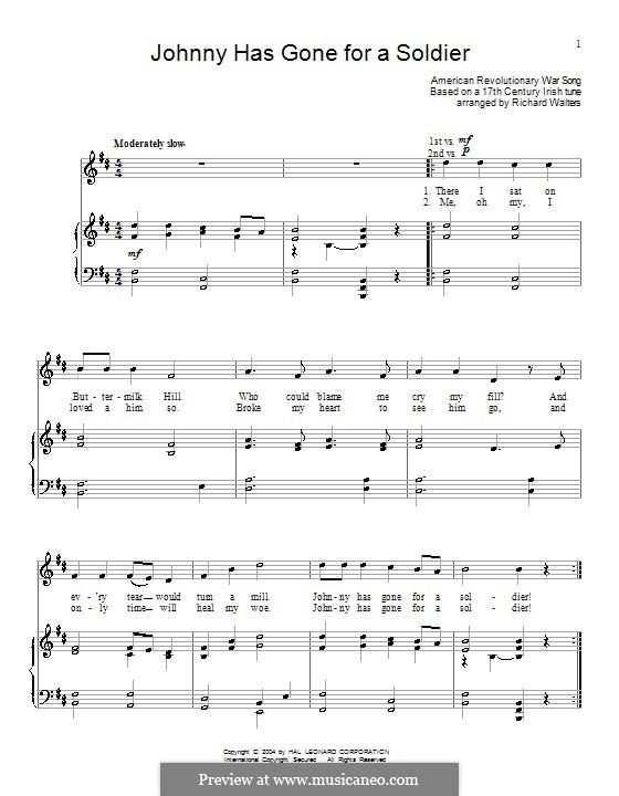 Johnny Has Gone for a Soldier: Für Stimme und Klavier (oder Gitarre) by folklore