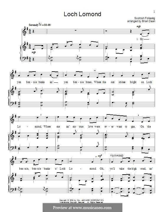 Loch Lomond: Für Stimme und Klavier (G Major) by folklore
