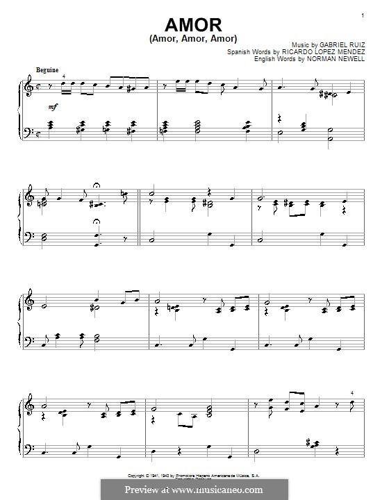 Amor (Amor, Amor, Amor): Für Klavier by Norman Newell, Ricardo Lopez Mendez