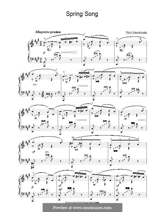 Lieder ohne Worte, Op.62: Nr.6 Frühlingslied by Felix Mendelssohn-Bartholdy