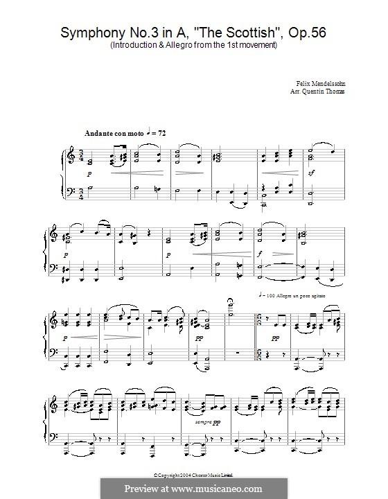 Sinfonie Nr.3 in a-Moll 'Schottische', Op.56: Teil I (Fragment). Version für Klavier by Felix Mendelssohn-Bartholdy