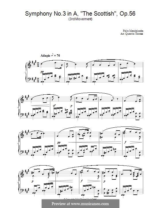 Sinfonie Nr.3 in a-Moll 'Schottische', Op.56: Teil III (Fragment). Version für Klavier by Felix Mendelssohn-Bartholdy