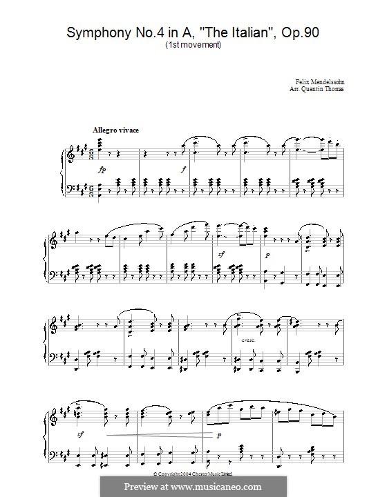 Sinfonie Nr.4 in A-Dur 'Italienische', Op.90: Teil I (Fragment), für Klavier by Felix Mendelssohn-Bartholdy