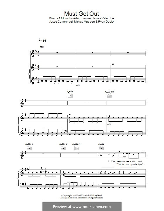 Must Get Out (Maroon 5): Für Stimme und Klavier (oder Gitarre) by Adam Levine, Jesse Carmichael