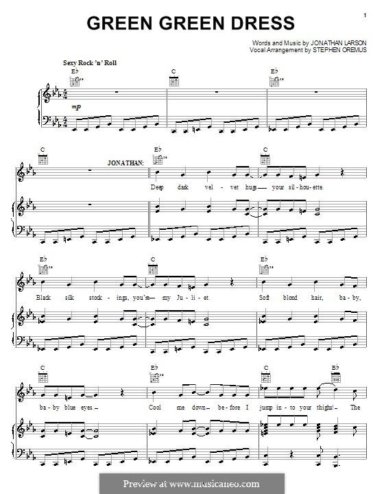 Green Green Dress: Für Stimme und Klavier (oder Gitarre) by Jonathan Larson