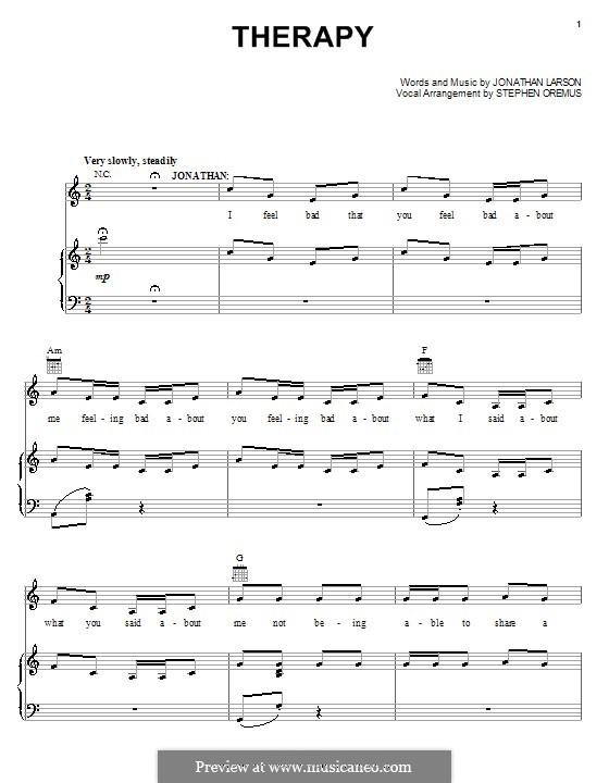 Therapy: Für Stimme und Klavier (oder Gitarre) by Jonathan Larson