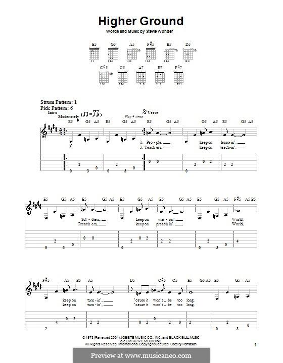 Higher Ground: Für Gitarre (Sehr leichte Fassung) by Stevie Wonder