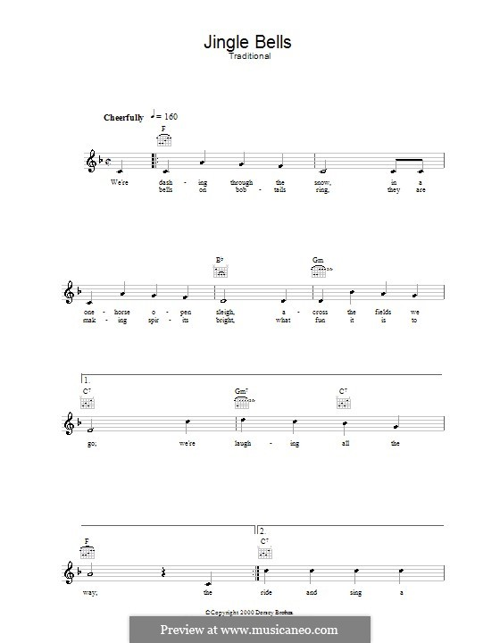 Jingle Bells (Printable scores): Melodie, Text und Akkorde by James Lord Pierpont