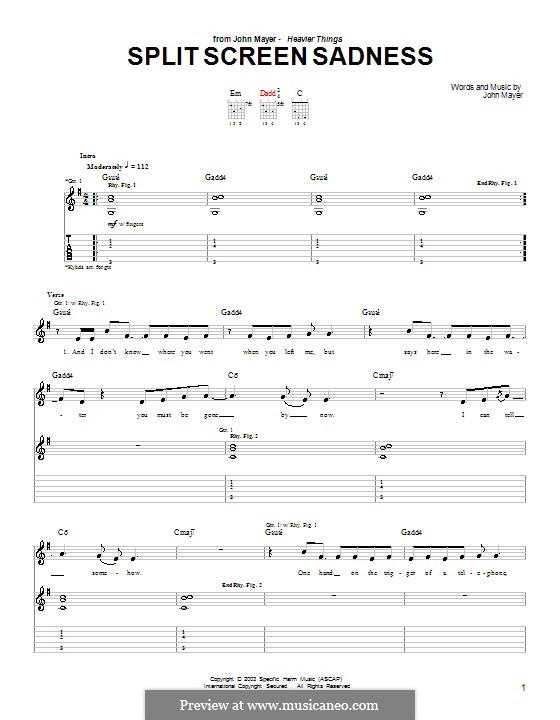 Split Screen Sadness: Für Gitarre mit Tabulatur by John Mayer