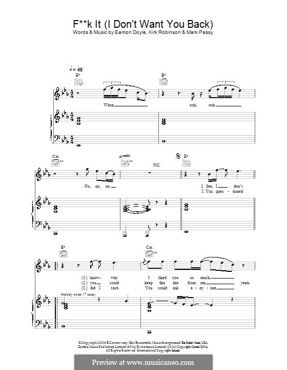 Fuck It (I Don't Want You Back): Für Stimme mit Klavier oder Gitarre (Eamon) by Eamon Doyle, Kirk Robinson, Mark Passy