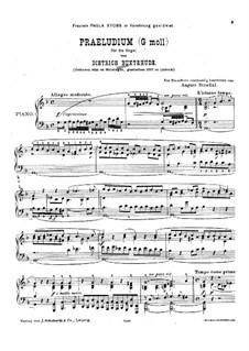 Präludium für Orgel in g-moll, BuxWV 150: Version für Klavier by Dietrich Buxtehude