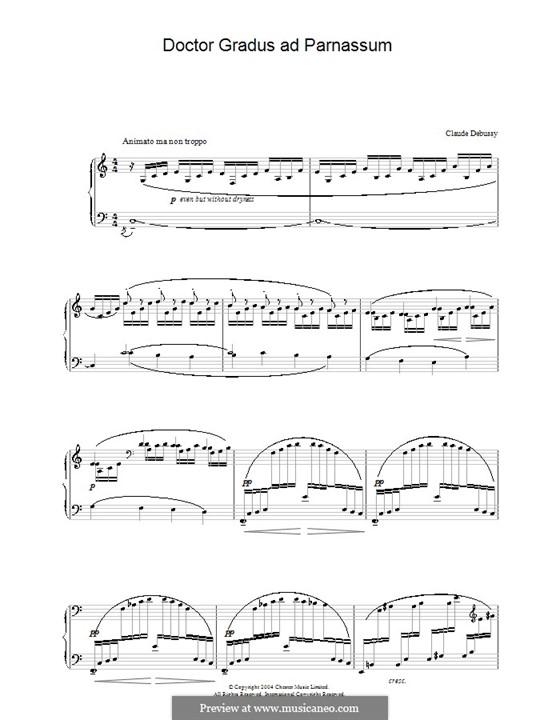 Nr.1 Doctor Gradus ad Parnassum: Für Klavier (Noten von hoher Qualität) by Claude Debussy