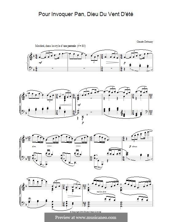 Six épigraphes antiques, L.131: No.1 Pour invoquer Pan, dieu du vent d'été by Claude Debussy