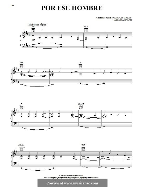 Por Ese Hombre: Für Stimme und Klavier (oder Gitarre) by Lucia Galan