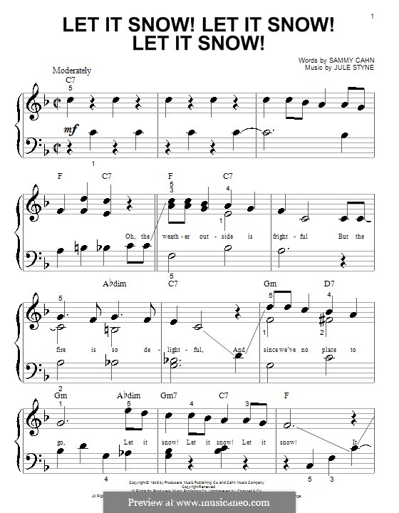 Let It Snow! Let It Snow! Let It Snow!, for Piano: Sehr leichte Fassung by Jule Styne