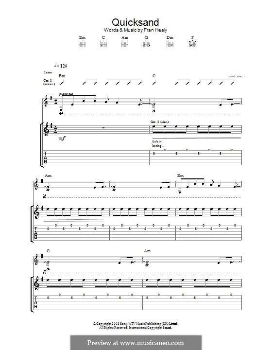 Quicksand (Travis): Für Gitarre mit Tabulatur by Fran Healy