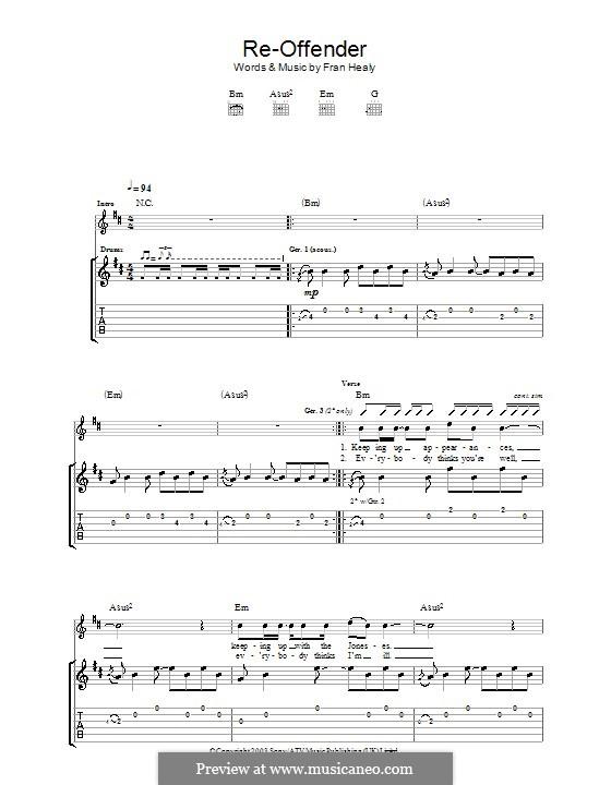 Re-Offender (Travis): Für Gitarre mit Tabulatur by Fran Healy