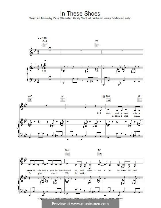In These Shoes (Kirsty MacColl): Für Stimme und Klavier (oder Gitarre) by Pete Glenister, William Correa