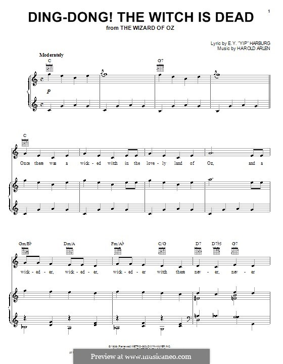 Ding-dong! The Witch Is Dead (from The Wizard of Oz): Para vocais e piano (ou Guitarra) by Harold Arlen