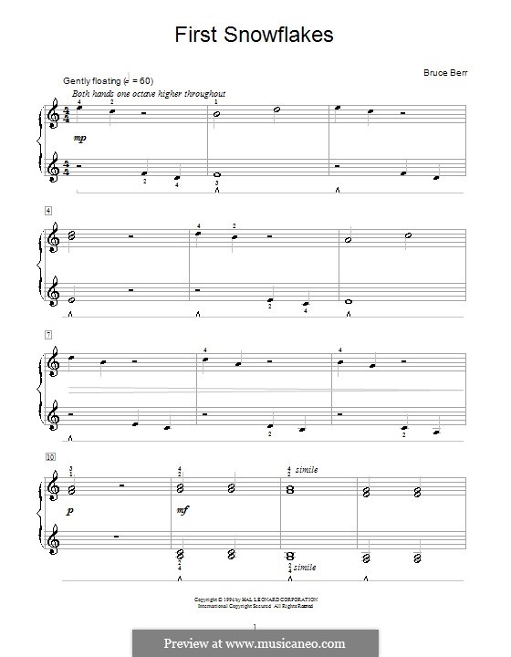 First Snowflakes: Para Piano by Bruce Berr