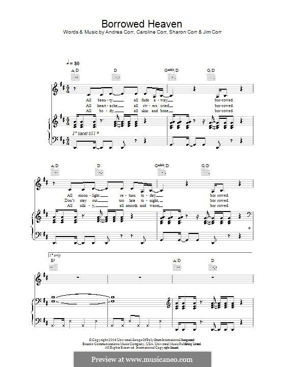 Borrowed Heaven (The Corrs): Para vocais e piano (ou Guitarra) by Andrea Corr, Caroline Corr, Sharon Corr