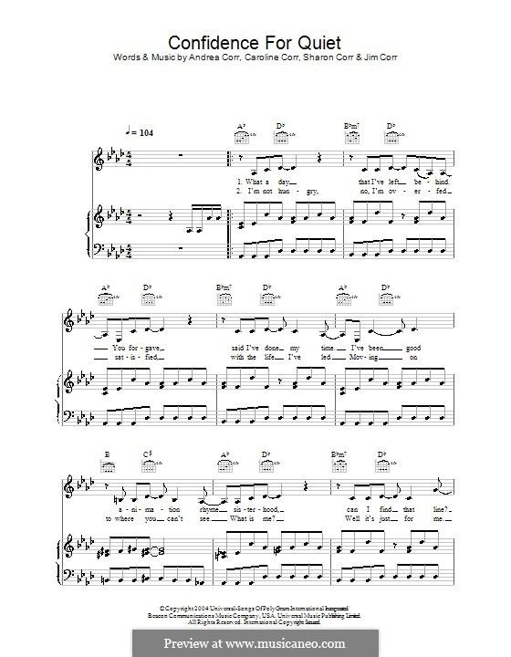Confidence for Quiet (The Corrs): Para vocais e piano (ou Guitarra) by Andrea Corr, Caroline Corr, Sharon Corr