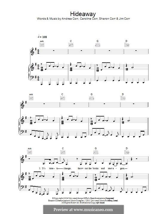 Hideaway (The Corrs): Para vocais e piano (ou Guitarra) by Andrea Corr, Caroline Corr, Sharon Corr