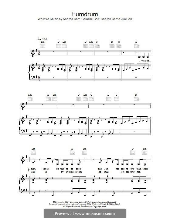 Humdrum (The Corrs): Para vocais e piano (ou Guitarra) by Andrea Corr, Caroline Corr, Sharon Corr