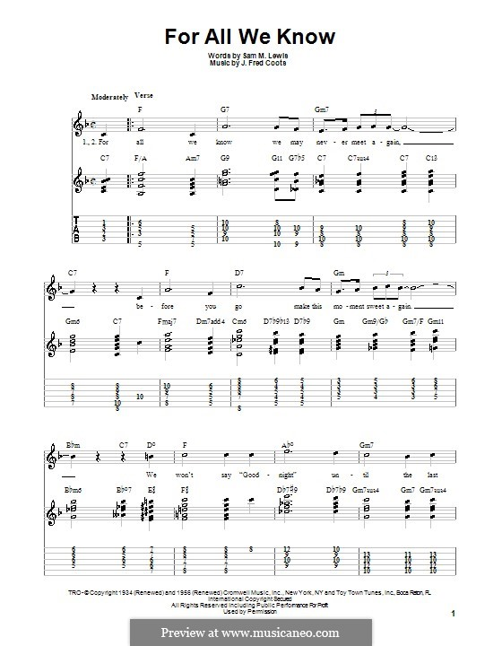 For All We Know: guia facil de guitarra by J. Fred Coots