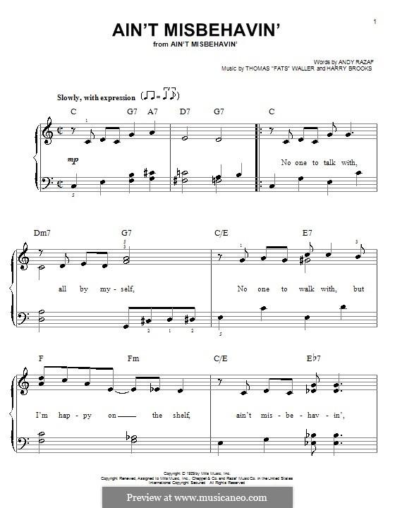 Ain't Misbehavin': Facil para o piano by Fats Waller, Harry Brooks