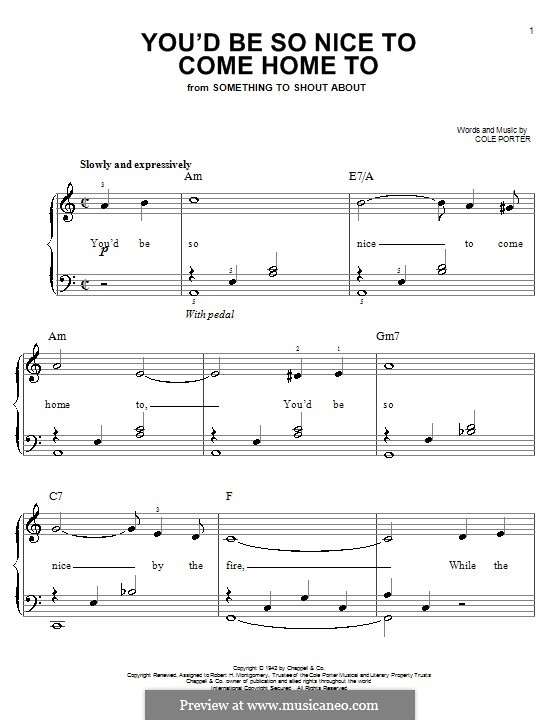You'd Be So Nice to Come Home to: Facil para o piano by Cole Porter
