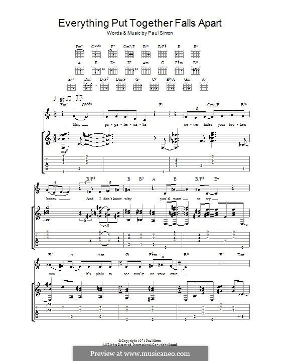 Everything Put Together Falls Apart: Para guitarra com guia by Paul Simon