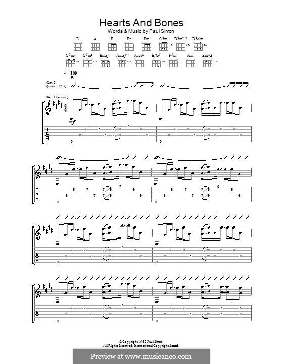 Hearts and Bones: Para guitarra com guia by Paul Simon
