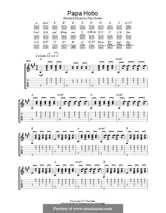 Papa Hobo: Para guitarra com guia by Paul Simon