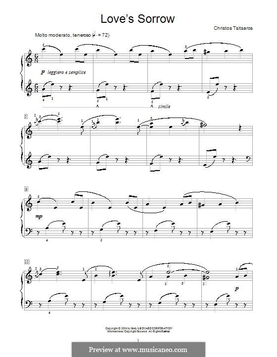 Love's Sorrow: Para Piano by Christos Tsitsaros