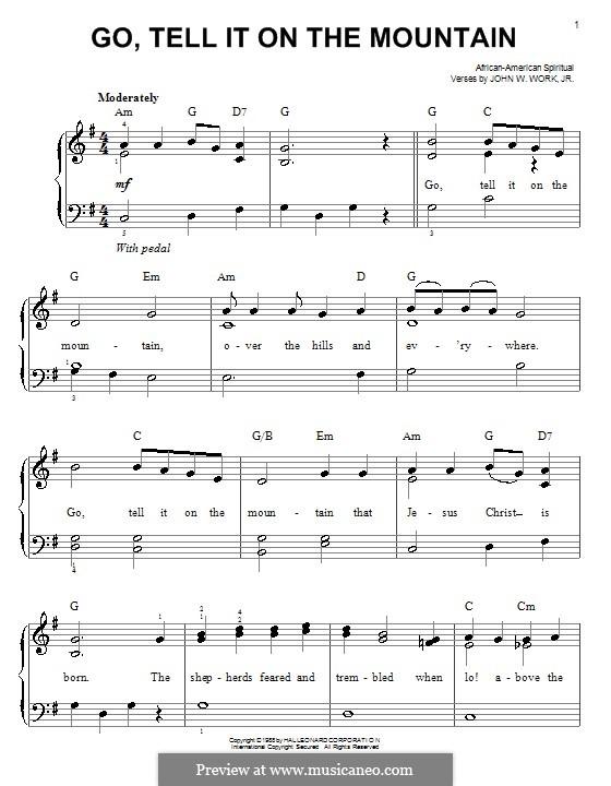 Go, Tell it on the Mountain (Printable Scores): Facil para o piano by folklore