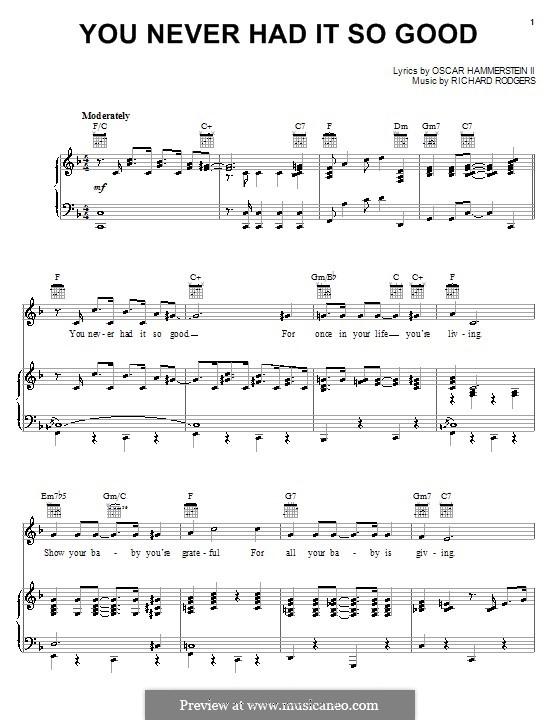 You Never Had it So Good: Para vocais e piano (ou Guitarra) by Richard Rodgers