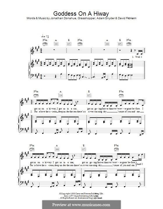 Goddess on a Hiway (Mercury Rev): Para vocais e piano (ou Guitarra) by Adam Snyder, Grasshopper, David Friedman, Jonathan Donahue