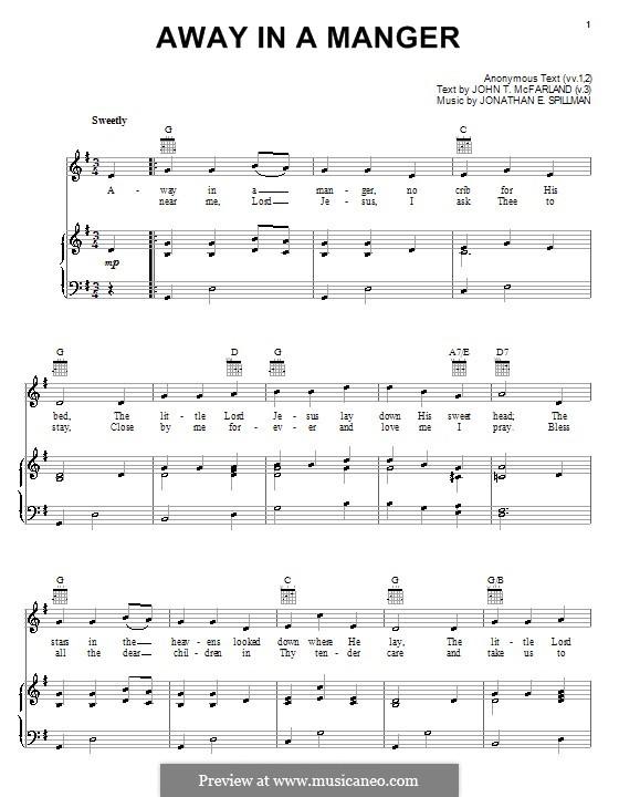 Away in a Manger: Para vocais e piano (ou Guitarra) by Jonathan Edwards Spilman