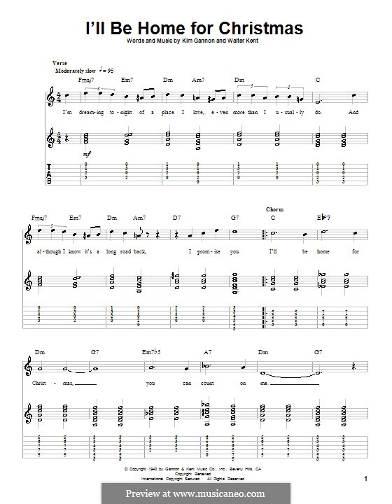 I'll Be Home for Christmas: For guitar with tab (Bing Crosby) by Kim Gannon, Walter Kent