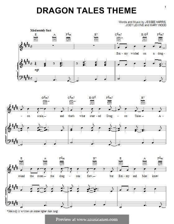 Dragon Tales Theme (Jessee Harris): Para vocais e piano (ou Guitarra) by Joey Levine, Mary Wood