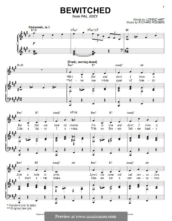 Bewitched (The Betty Smith Group): para voz e piano ou guitarra (A maior) by Richard Rodgers