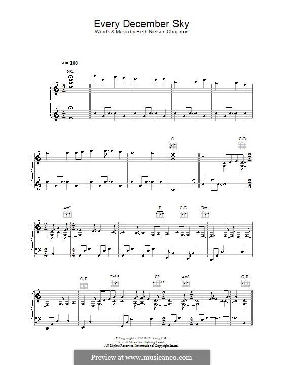 Every December Sky: Para vocais e piano (ou Guitarra) by Beth Nielsen Chapman