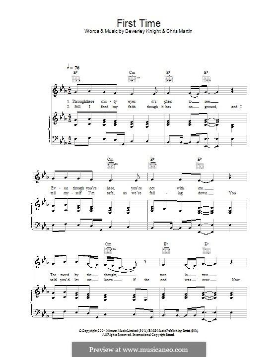 First Time: Para vocais e piano (ou Guitarra) by Beverley Knight, Chris Martin
