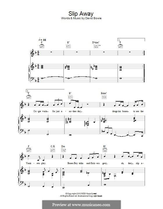 Slip Away: Para vocais e piano (ou Guitarra) by David Bowie