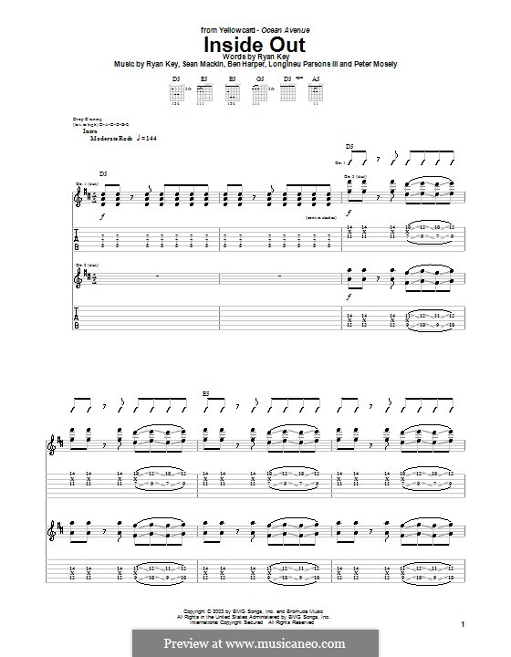 Inside Out (Yellowcard): Para guitarra com guia by Ben Harper, Longineu Parsons III, Peter Mosely, Ryan Key, Sean Mackin