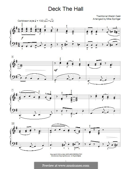 Deck the Hall, for Piano: For a single performer (G Major) by folklore