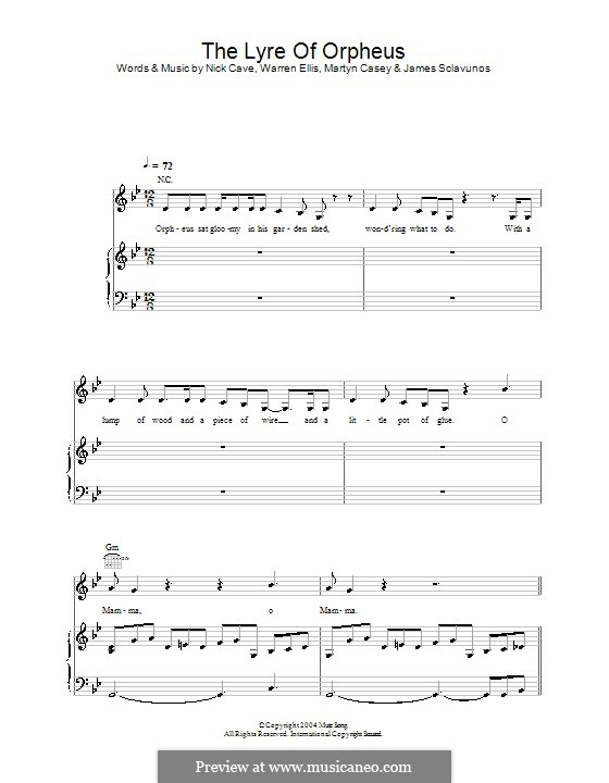 The Lyre of Orpheus : Para vocais e piano (ou Guitarra) by Jim Sclavunos, Martyn Casey, Nick Cave, Warren Ellis