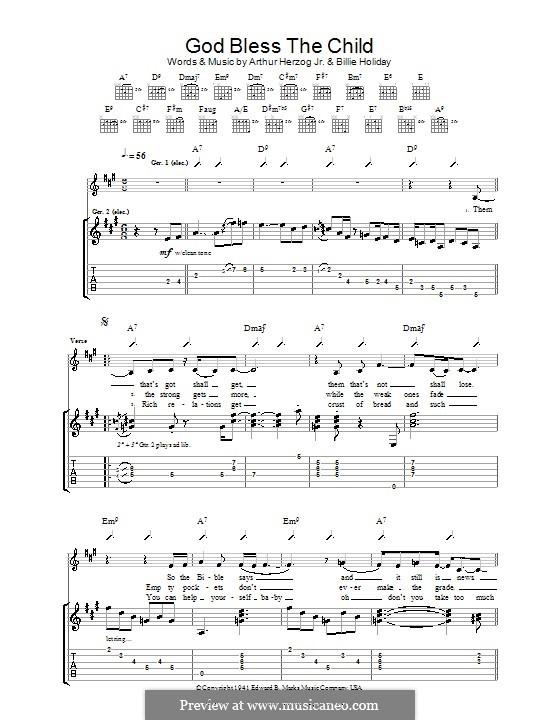 God Bless' the Child (Eva Cassidy): Para guitarra com guia by Arthur Herzog, Billie Holiday